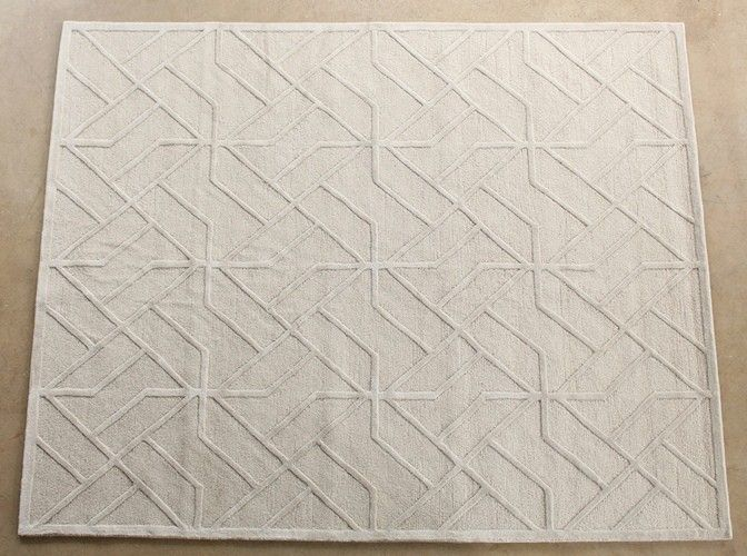 RUG248: 8' x 10' Antique White and Stone Hand-tufted Wool Pattern Rug (2)