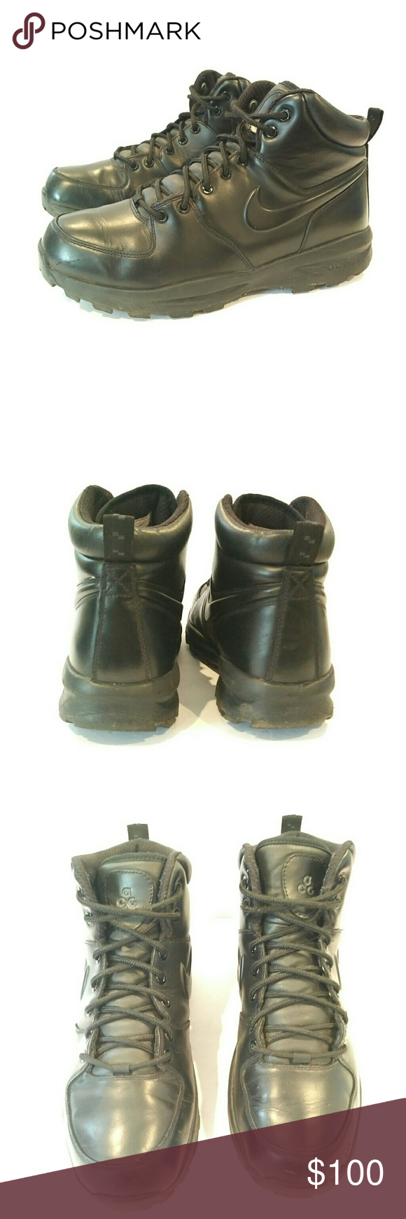Nike Acg mens waterproof work boots 10.5 Nike acg mens 10.5 Mens black  leather boots Rubber