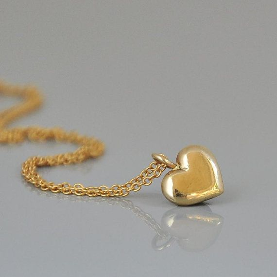 Gold heart pendant 14k gold heart necklace love gift necklace 14k gold necklace solid gold heart pendant by malkaravinajewelry aloadofball Images