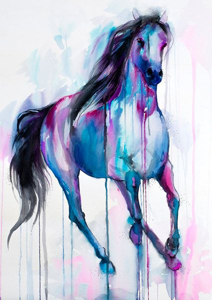 Magical Horse Watercolor Painting Print By Slaveika Aladjova Art