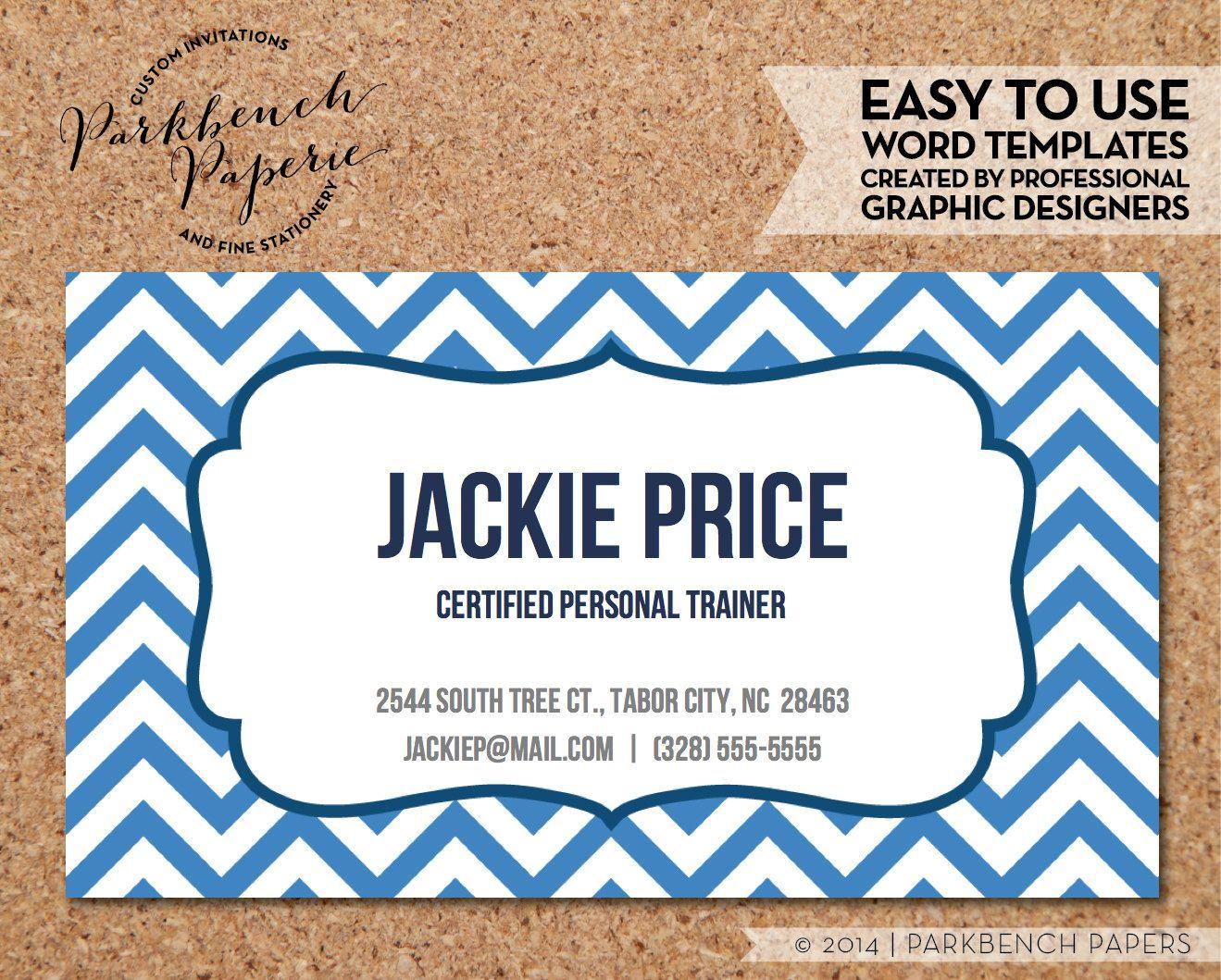 Business Card Template Ocean Blue Chevron & Frame DIY