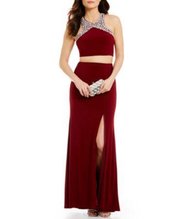 c1d46548f74 B. Darlin Beaded Trim High Neck Two-Piece Open-Back Long Dress  Dillards