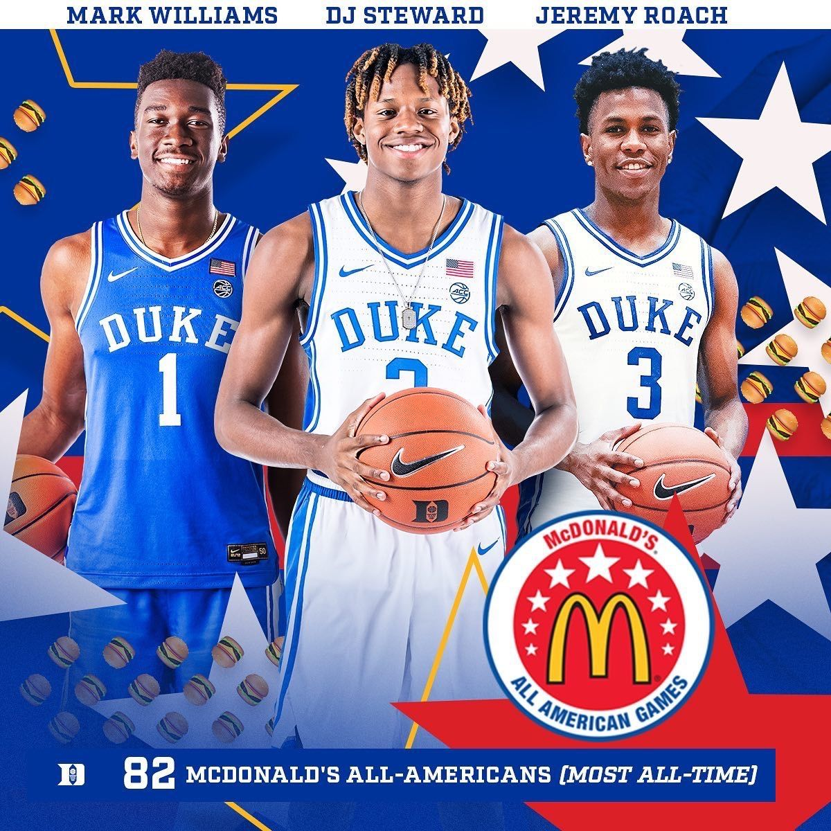 Mark Williams Dj Steward And Jeremy Roach In 2020 Mark Williams American Games Duke Blue Devils
