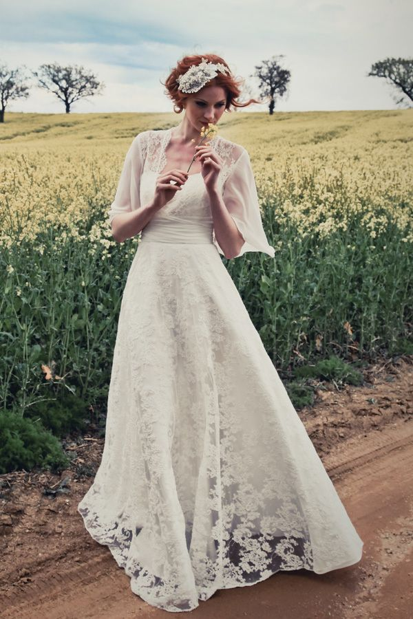Fairy Square Neck Short Sleeves Empire Waist Lace Wedding