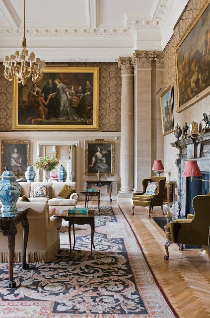 English Country House Drawing Rooms: English Drawing Room With Dramatic Architectural Elements