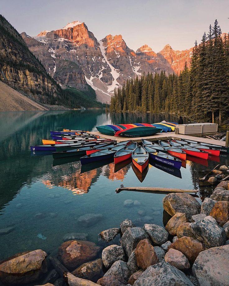 A beautiful sunrise at Moraine Lake Canada