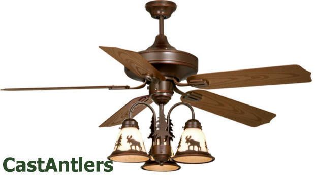 52 Lodge Rustic Cabin Ceiling Fan W Light Kit Bear Moose Deer Pine Tree Scene