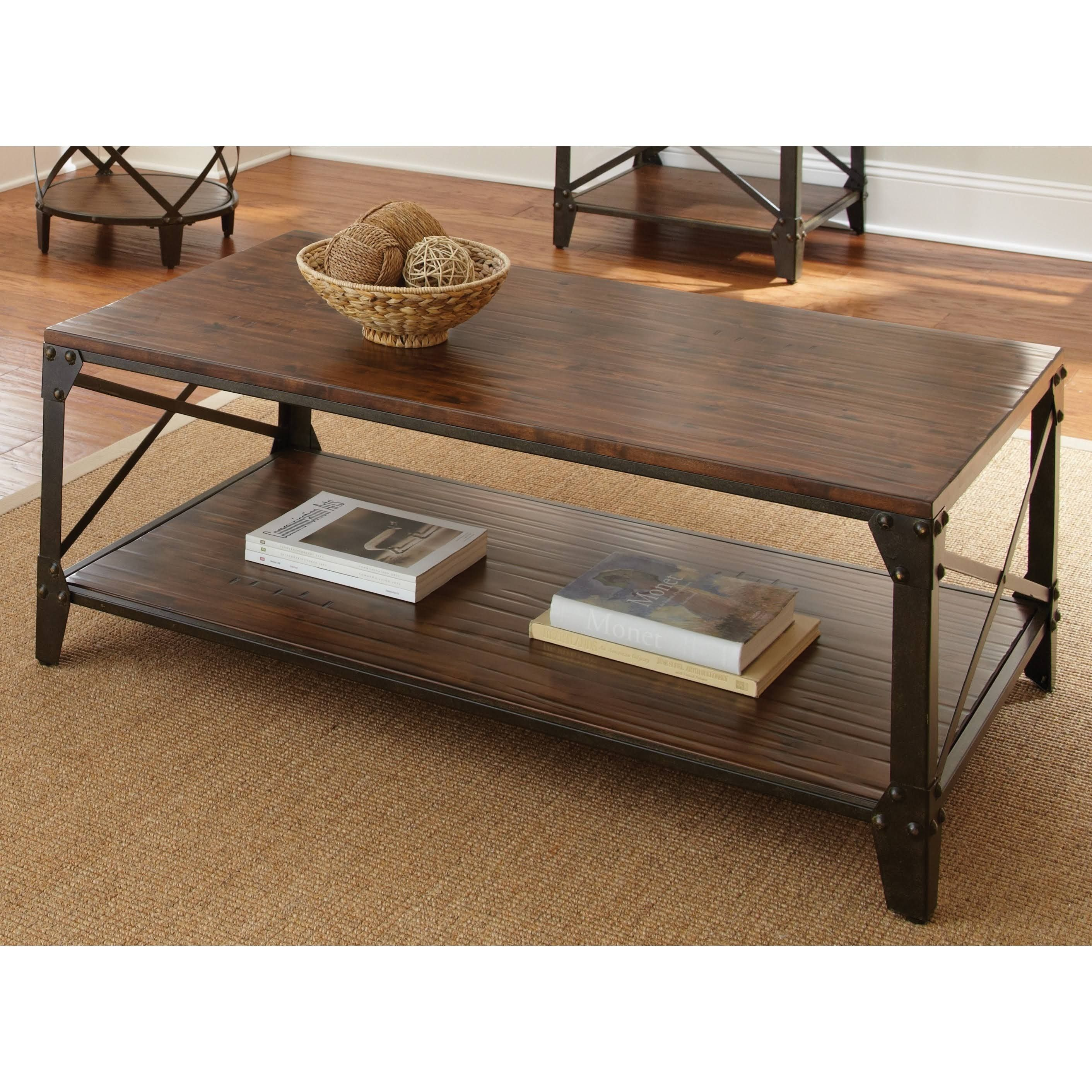 Silver Windham Solid Birch/ Iron Coffee Table Brown