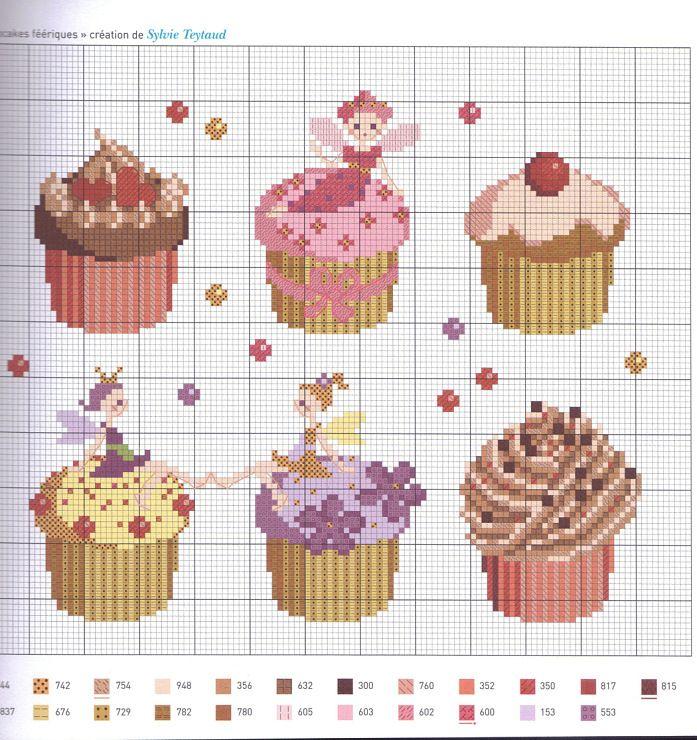 "cross stitch Agenda 2012 ""Gourmandises"" cupcakes with colour key"