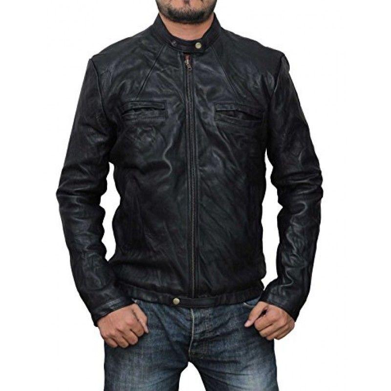 17 Again Zac Efron Black Leather Jacket Black Wrinkle