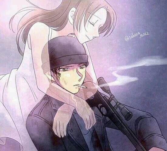 Akemi Miyano hugging Akai Shuichi