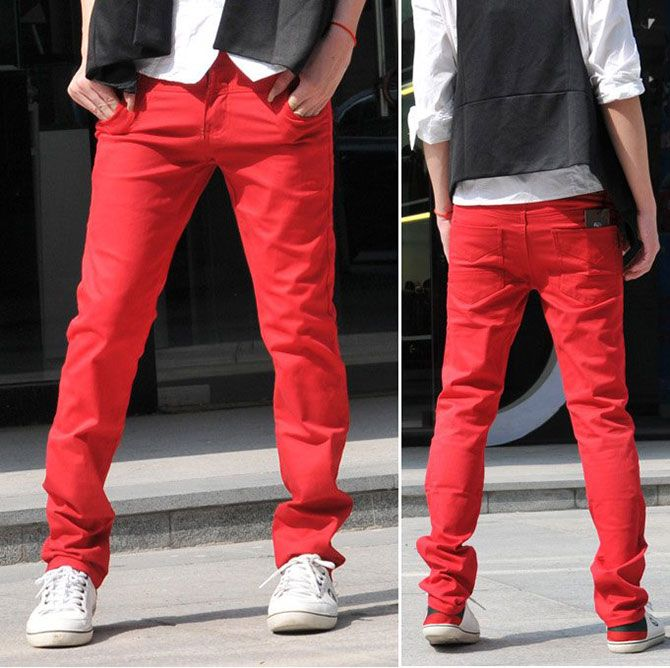 red jeans, white shirt, back/grey vest...nice   style/fashion ...