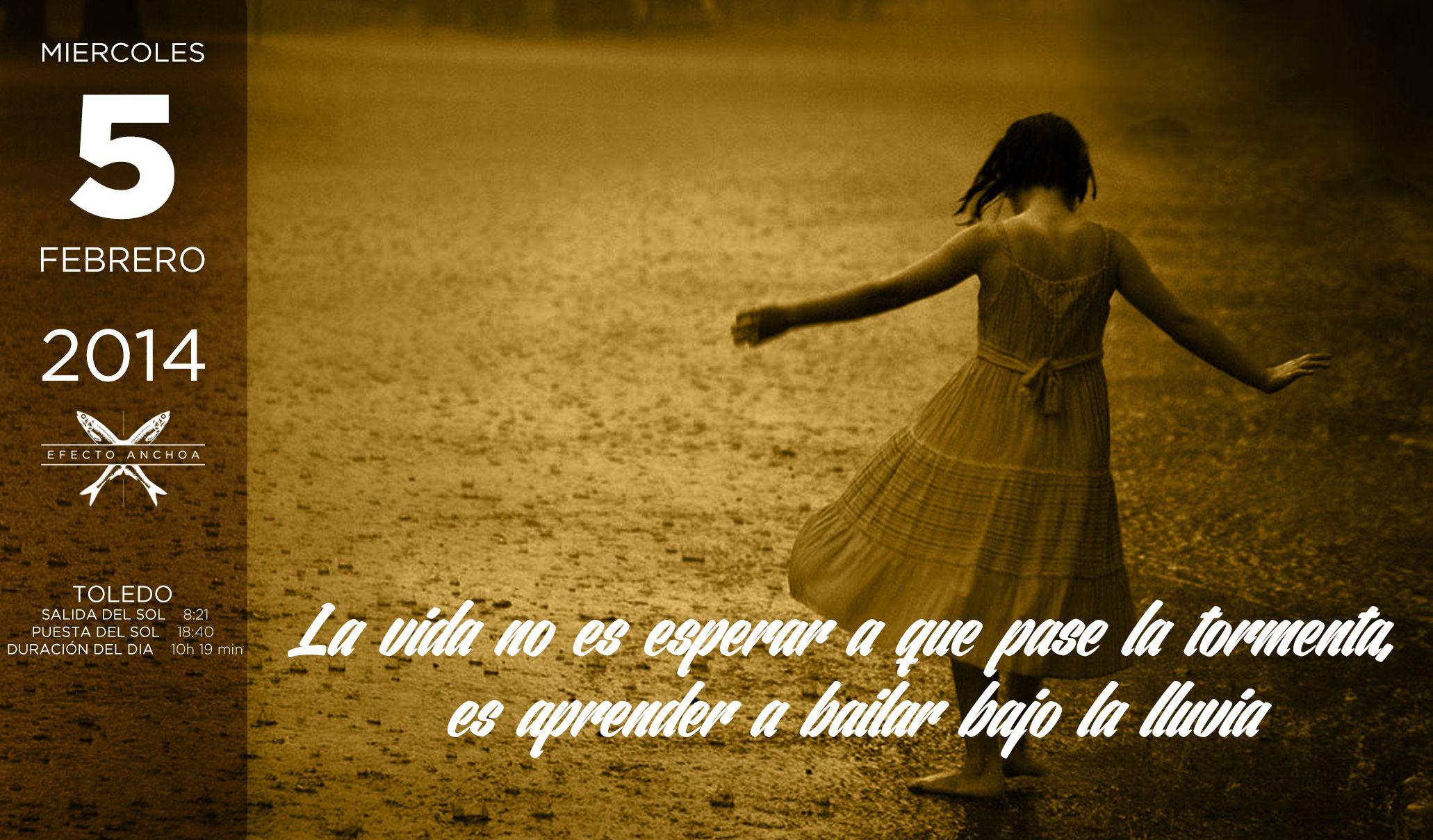 La vida no es esperar a que pase la tormenta, es aprender a bailar bajo la lluvia. Efecto Anchoa