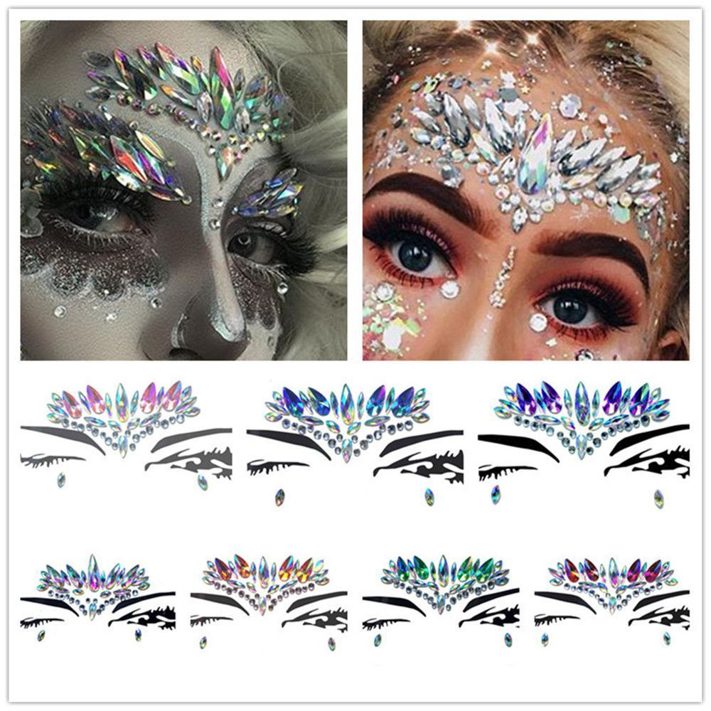 new temporary rhinestone glitter tattoo stickers face jewels