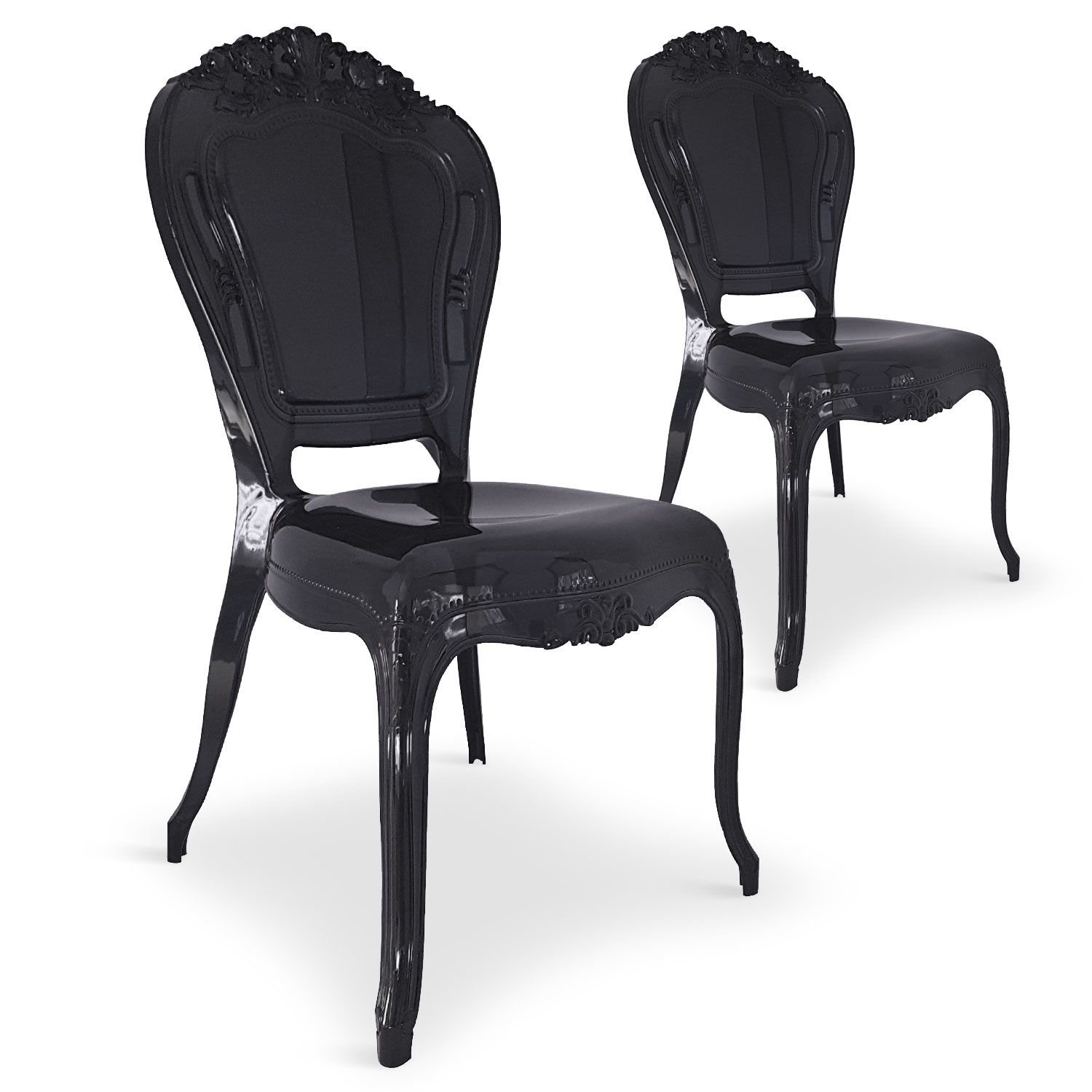 Lot De 2 Chaises Royales Crown Plexi Noir En 2020 Lot De Chaises