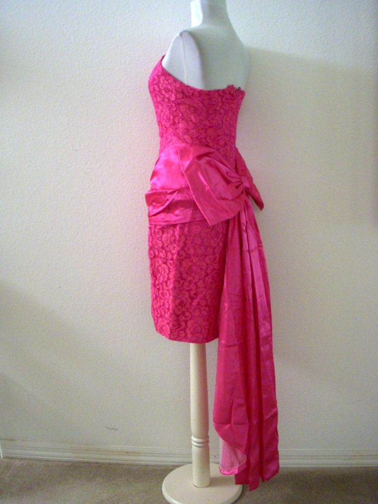Vintage hot pink evening dress with swag by om again vintage