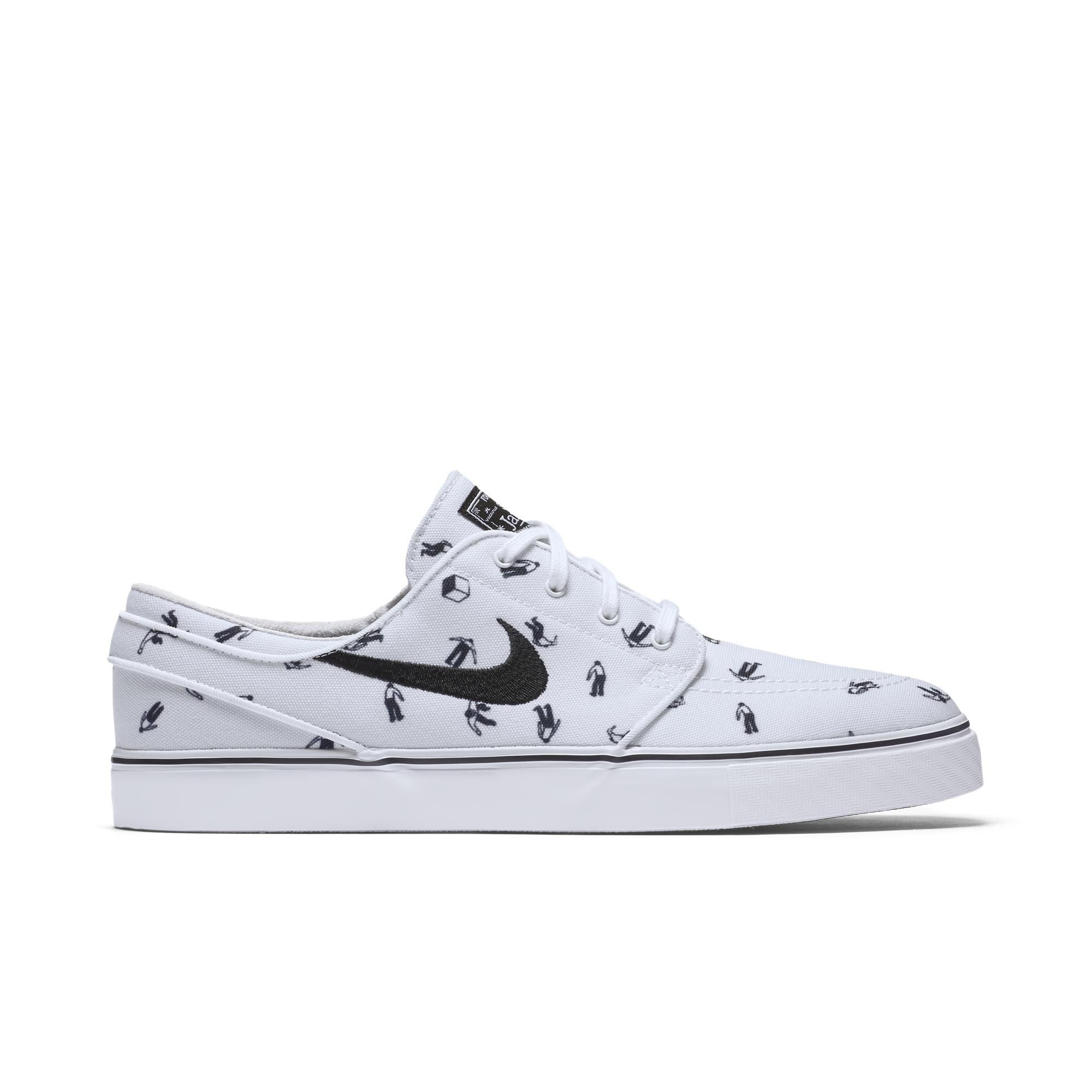 Men's Nike SB Zoom Stefan Janoski Canvas PRM Wolf Grey White Black Sneakers : B64r841