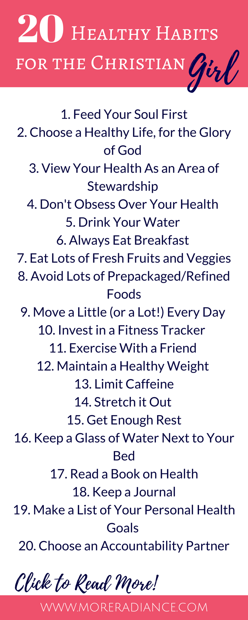 20 Healthy Habits for the Christian Girl - More Radiance Blog