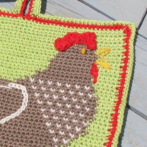 Henrietta Hen Potholder pattern - INSTANT DOWNLOAD   Gallinas ...