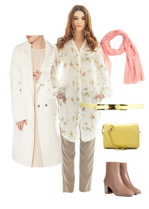#Trousers, #blouse and #coat by #Libellulas, #boots #Valentino, #clutch #Calipso, #scarf Bino Tiani, #belt #TedBaker