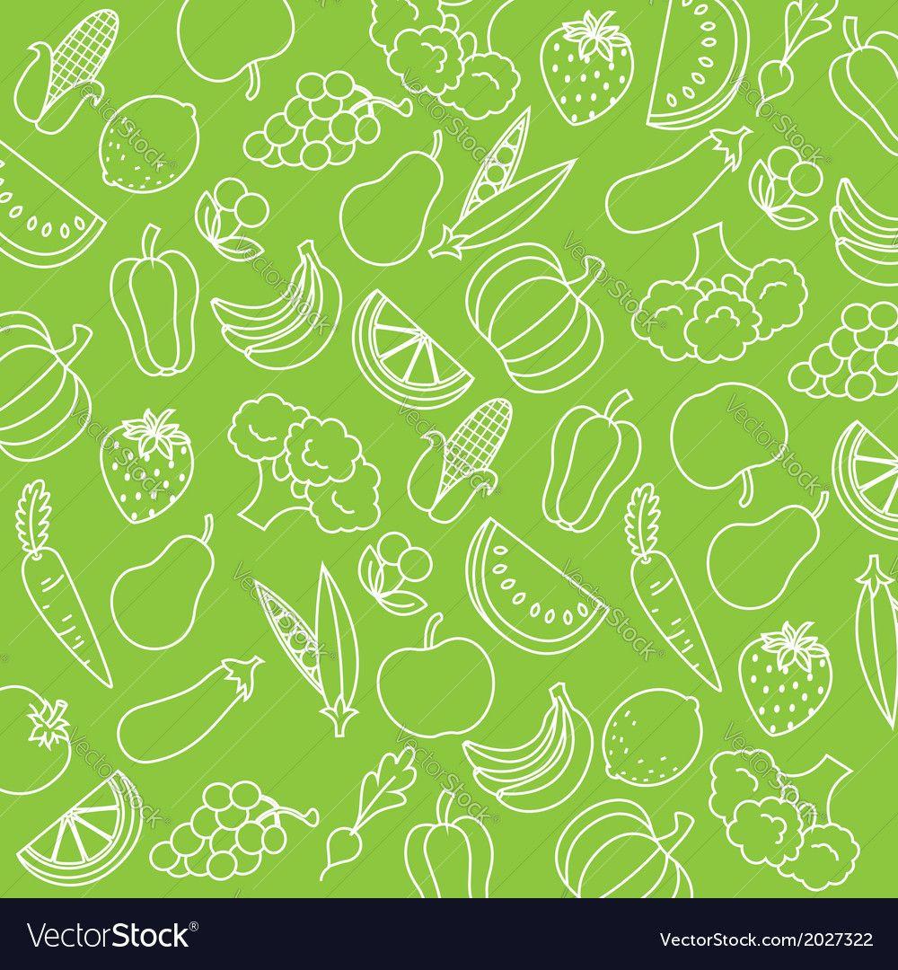 Background fruits and vegetables vector image on | Cartão ...