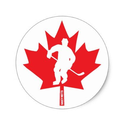 Canada hockey maple leaf player classic round sticker