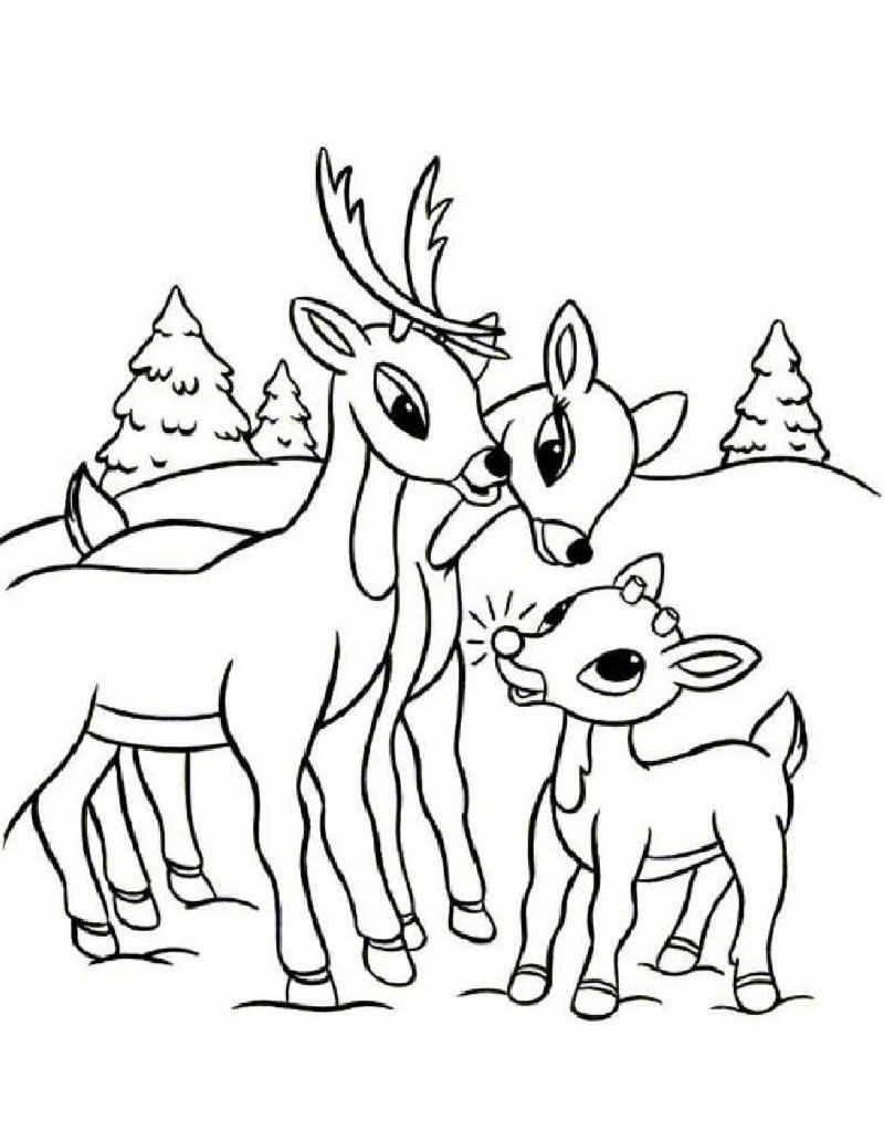Rudolph family coloring page | Christmas Coloring Pages/Worksheets ...