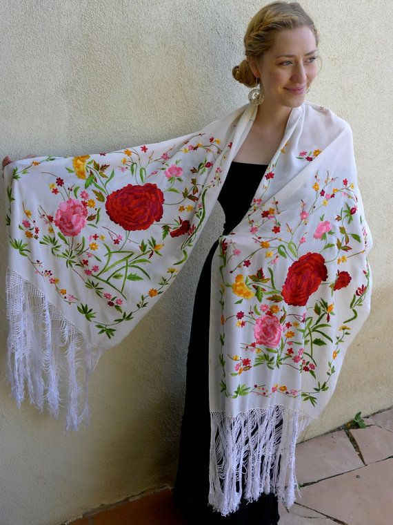 RESERVE Mexican Embroidered White Silk Engagement Shawl