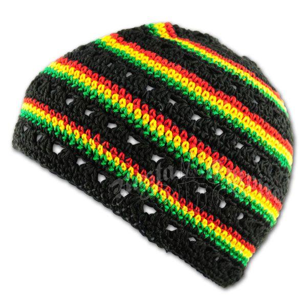 Rasta and Reggae Skull Cap - Black with Rasta Stripes
