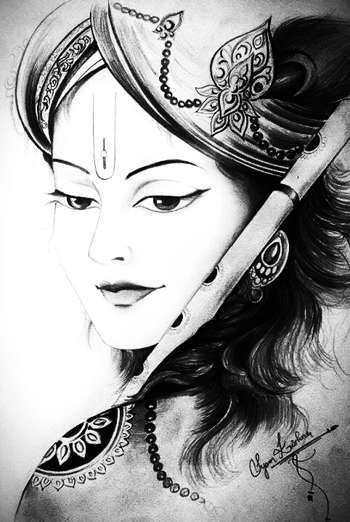 krishna painting black and white wwwpixsharkcom
