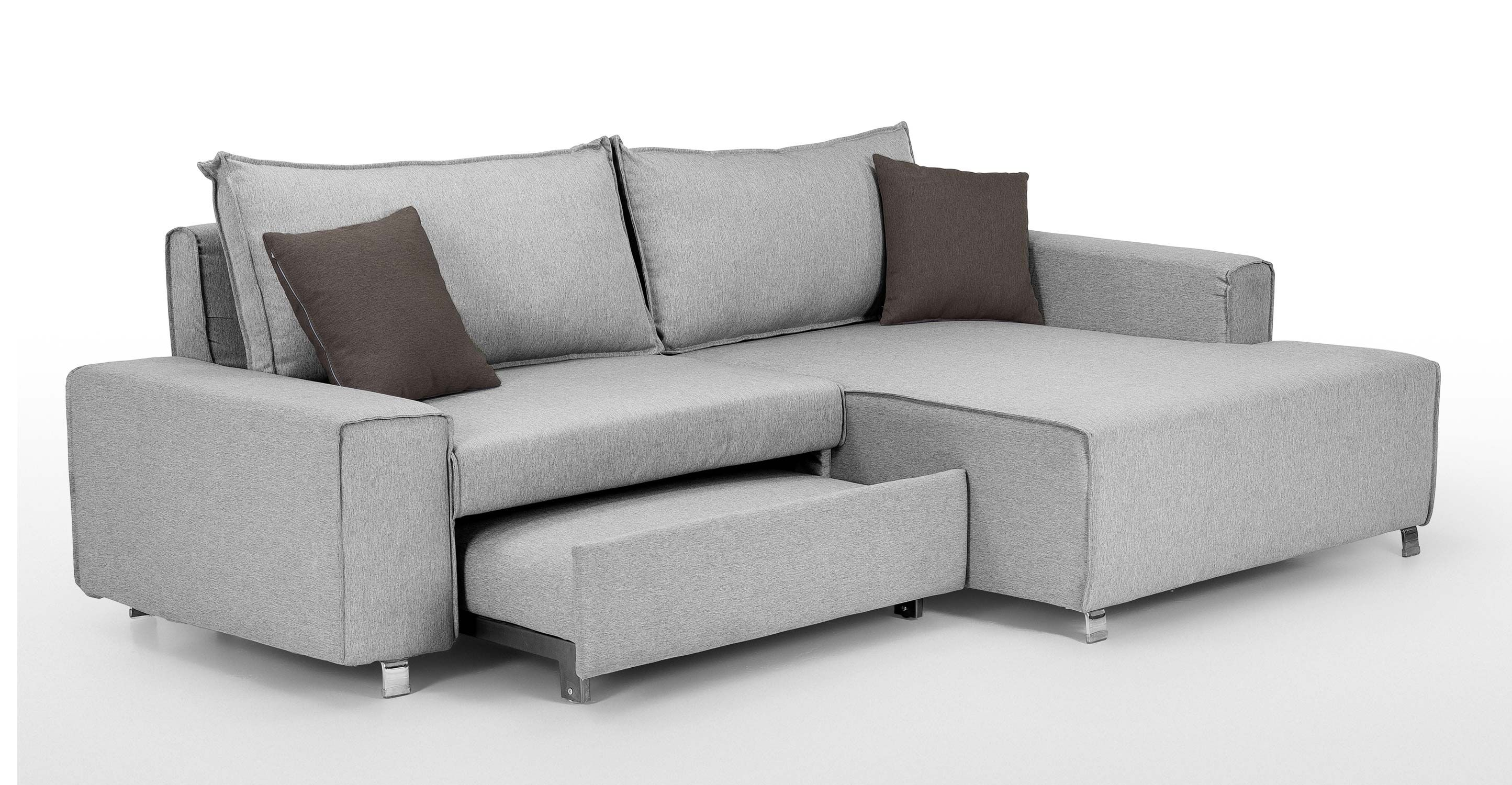 Best Mayne Right Hand Facing Corner Sofa Bed Clear Grey Stone 400 x 300