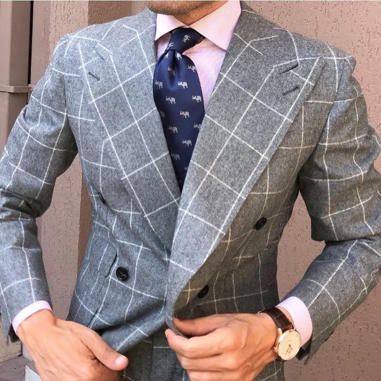 4359884578e87 men s grey windowpane double breasted blazer