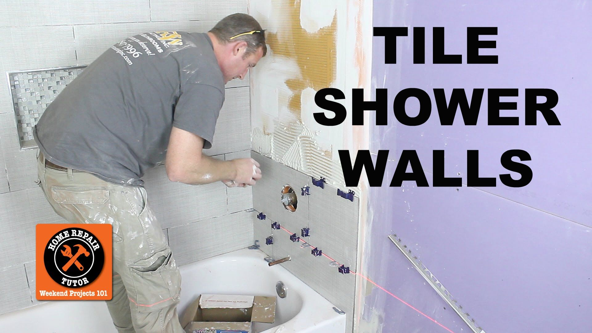 Learn how to tile a shower wall...specifically the mixing valve wall ...
