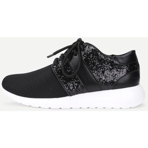 Contrast Sequin Lace Up Sneakers  43 Bam  Liked On