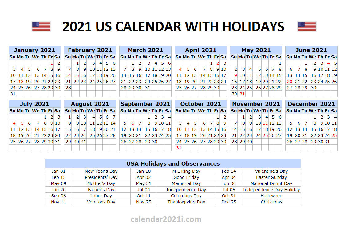 United States 2021 Year 2021 Calendar With Holidays Usa ...