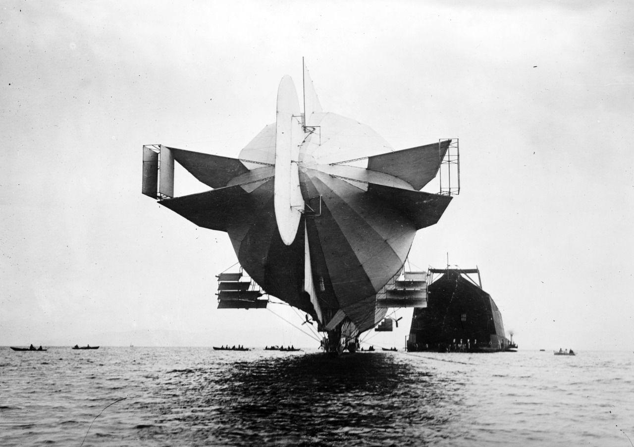 """warisstupid: """" Stern of Zeppelin airship and floating hangar July 1908 source """""""