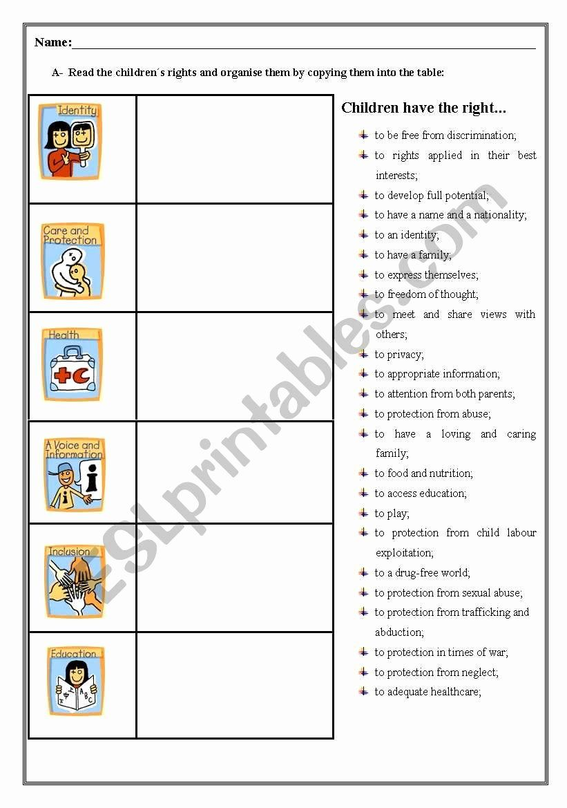 Rights And Responsibilities Worksheets For Kids New Children S Rights Worksheet Es Children S Rights Children S Rights And Responsibilities Worksheets For Kids