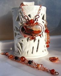Beautiful agate necklace, bracelet, earrings and a ring =0)
