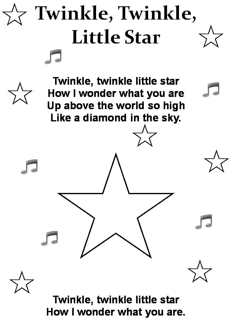 Twinkle Twinkle Little Star Poem Printable Nursery Rhymes Poems