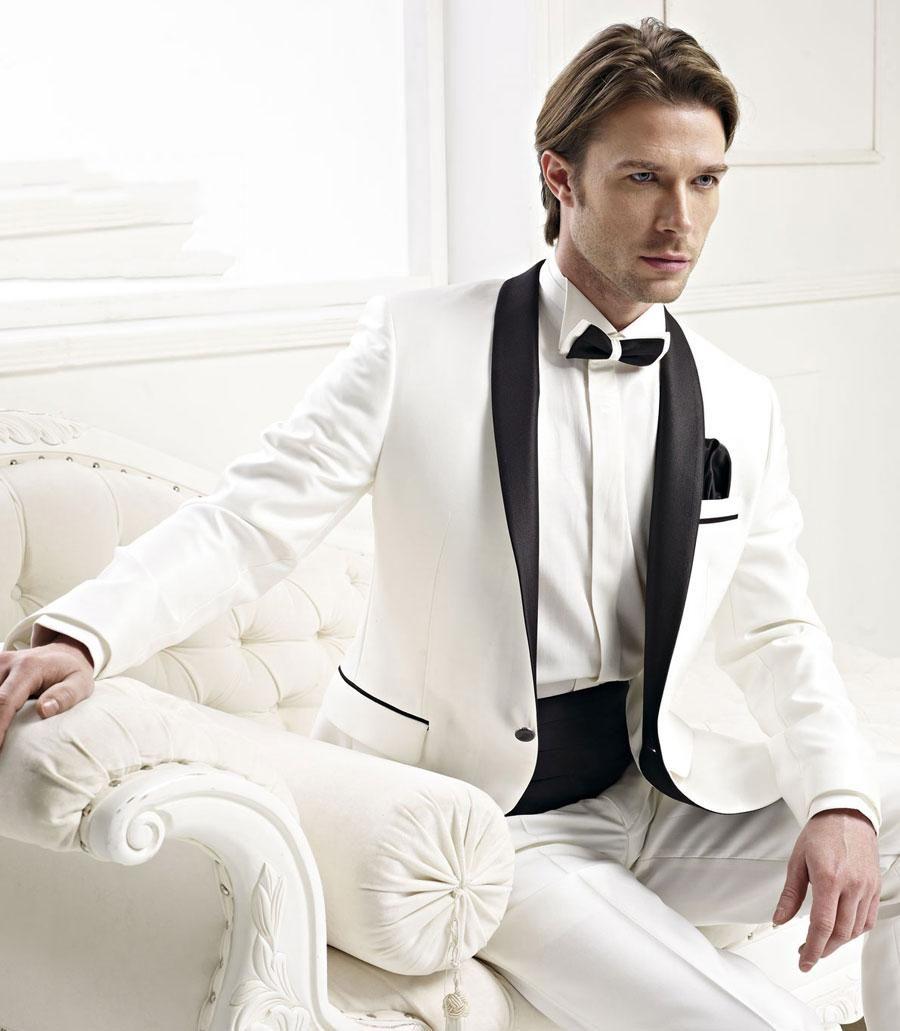 2015 custom formal white groom groosmen men wedding suits with black ...