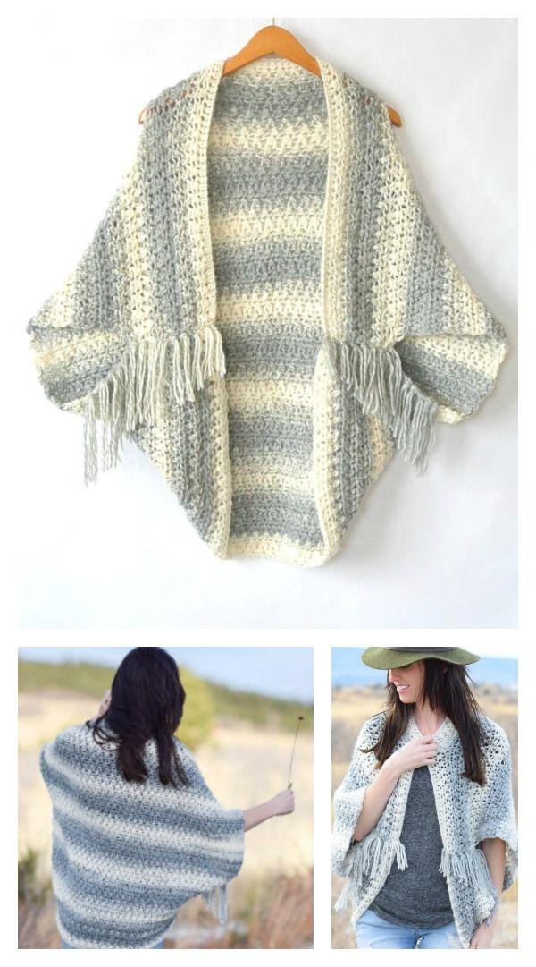 Crochet Blanket Sweater Shrug Free Pattern | Ponchos, Tejido y Chal