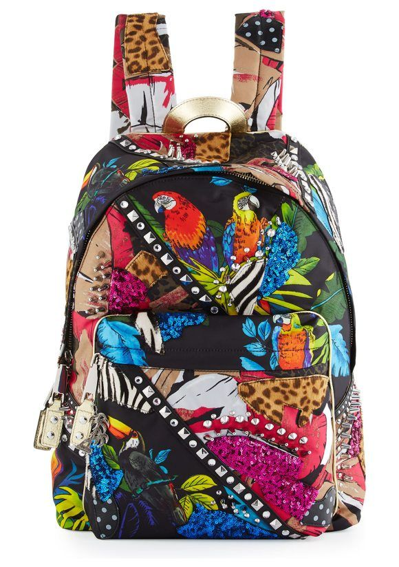 Palm Parrot Studded Biker Backpack By Marc Jacobs Nylon In Print Animal Dyed Calf Hair New Zealand And Sequined