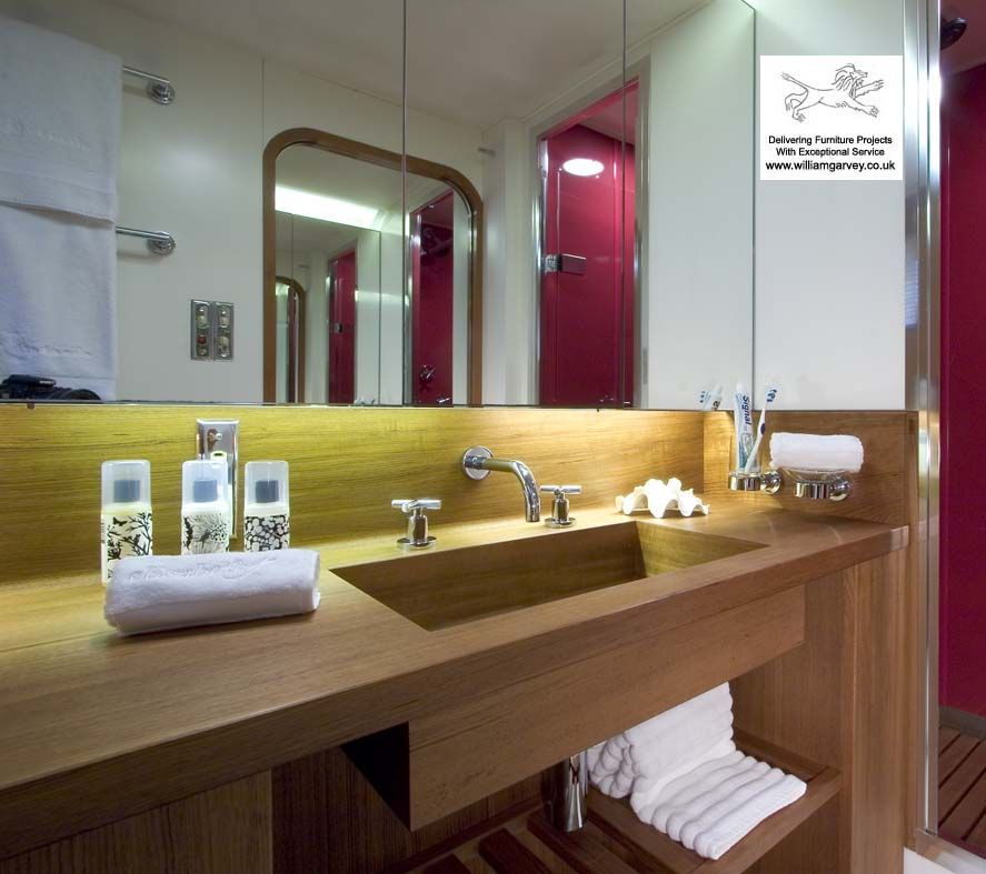 Bespoke teak vanity unit and double wash stand