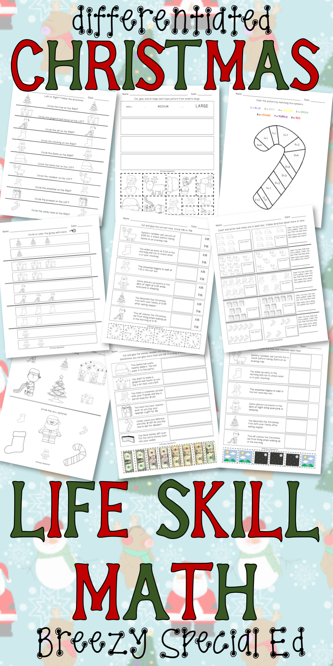 worksheet Functional Math Worksheets christmas differentiated life skill math pack special education education