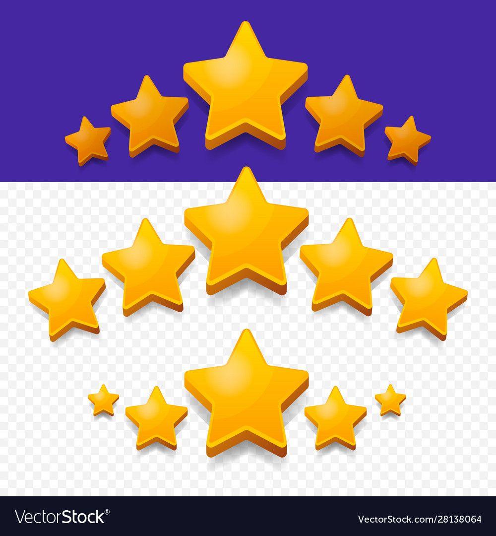 Five Stars Rating Gold Icon 3d Cartoon Game Vector Image Ad Gold Icon Stars Rating Ad Party Invite Design Invitation Design Template Creative Icon