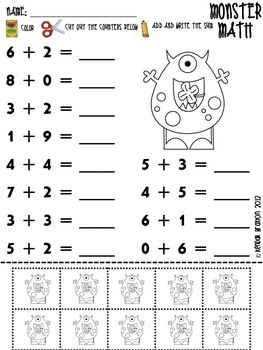 Monster Math Sums To 10 Maths Sums Monster Math Math