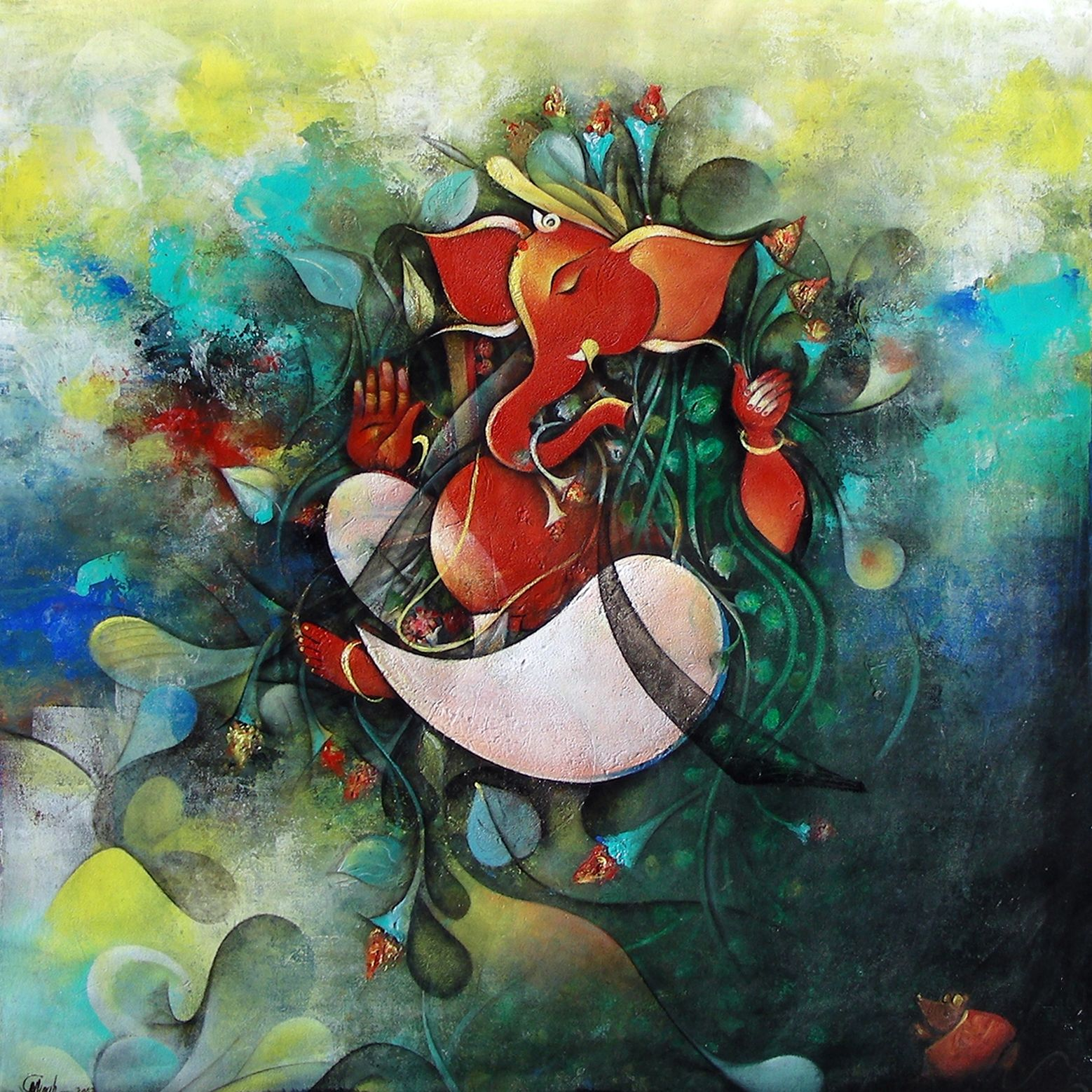 Shri Ganesh Hd Wallpaper: Beautiful Lord Ganesha Art Paintings (Hindu God) For Sale