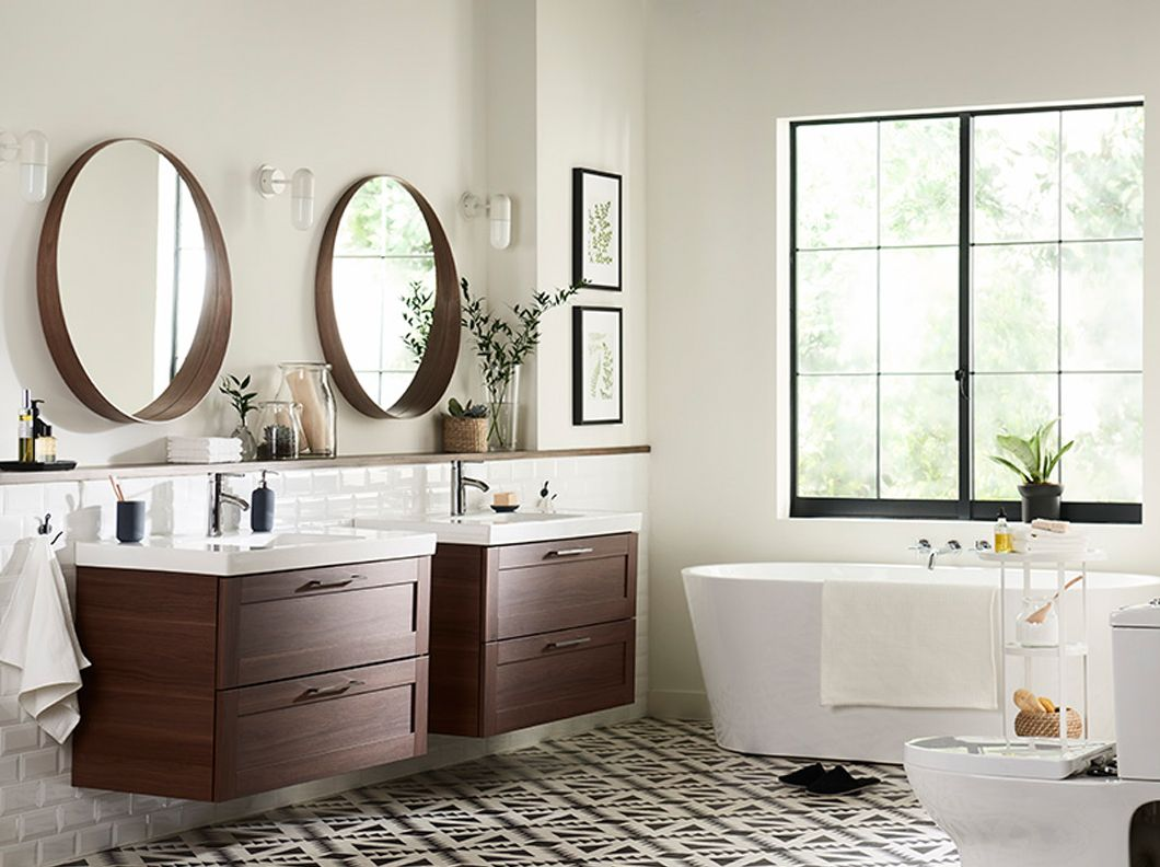 Ikea Bathroom Mirrors Ideas Stunning Godmorgonodensvik Vanity Combination With 2Drawers In Walnut Inspiration