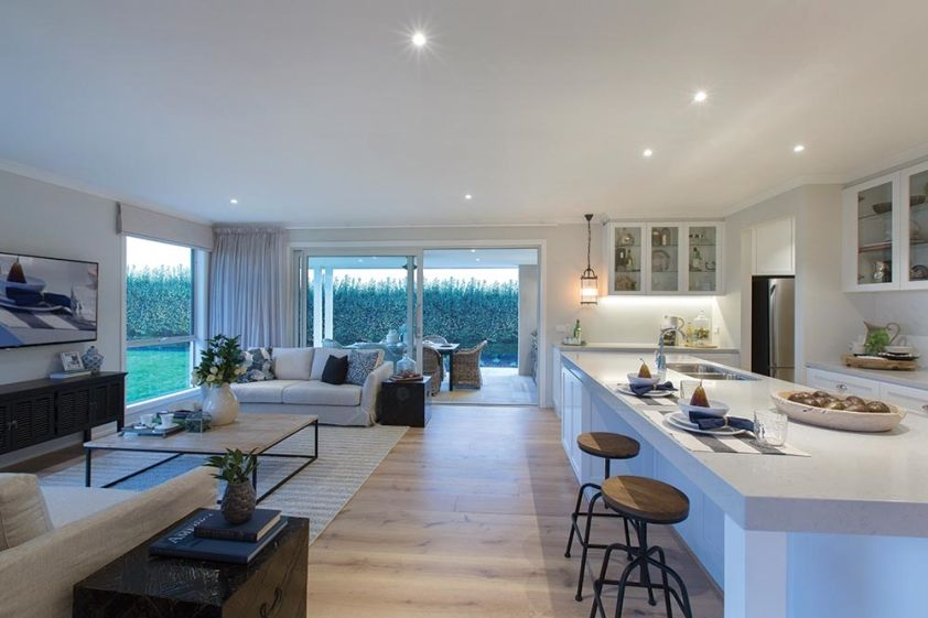 Family Room Kitchen Designs. Family room off the kitchen in Classic Hamptons interior style by World  of Style