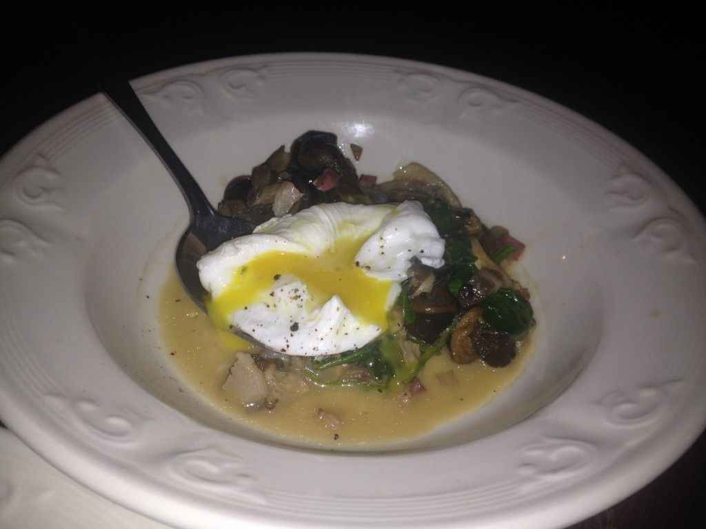 """Scarlet Exclusive in Montreal's """"Escargots, Medley of Wild Mushrooms, Smoked Pancetta, Poached Egg on a Puree of Spinach"""""""